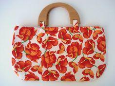 Medium Size Purse Orange Floral Handbag Orange by DonnaDesigned, $20.00
