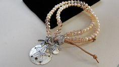 Boho Pearl Crystal Bracelet Double Strand, Beach Style, Sand Dollar, Charms, Silver, Easy Open
