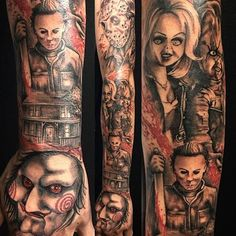 half sleeve tattoo designs and meanings Half Sleeve Tattoos Color, Half Sleeve Tattoos Lower Arm, Leg Sleeve Tattoo, Half Sleeve Tattoos Designs, Best Sleeve Tattoos, Tattoo Designs, Horror Movie Tattoos, Wicked Tattoos, Creepy Tattoos