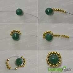 Here is a detailed tutorial on how do you make gold and green round drop earrings with gemstone beads. Seed Bead Earrings, Beaded Earrings, Beaded Jewelry, Handmade Jewelry, Stud Earrings, Jewellery, Free Beading Tutorials, Beading Patterns, Gemstone Beads