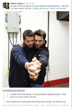 John Barrowman & Misha Collins ** Possibly the best photograph to ever exist.