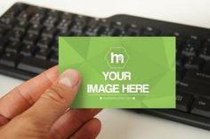 Holding Business Card on Keyboard Background - Mediamodifier - Online mockup… Business Card Design, Business Cards, Mockup Generator, Mockup Templates, Your Image, Keyboard, Your Design, Etsy Seller, Cards Against Humanity