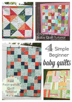 Four simple Baby Quilt Tutorials for beginners
