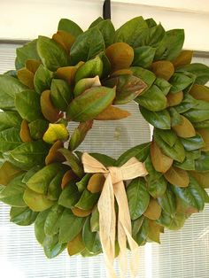 This time of year I love love love making Magnolia Wreaths. When we purchased this home, we also inherited a huge, old, Magnolia Tree. Magnolia Wreath, Magnolia Leaves, Sweet Magnolia, Wreath Crafts, Diy Wreath, Wreath Ideas, Wreath Making, Leaf Projects, Diy Projects