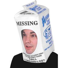 This milk hat comes complete with faux milk carton made of screen printed fabric over foam. A quick and easy to wear costume for any Halloween party. - SKU: CA-009370