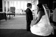 bride and ring bearer, candid