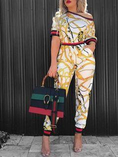 ab4e04bc331b Patchwork Print One Shoulder Jumpsuit. Long JumpsuitsLadies ...