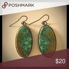Antique Turquoise Stone Drop Earrings Beautiful antique earrings Jewelry Earrings