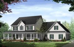 Farmhouse Plan: 3,000 Square Feet, 4 Bedrooms, 3.5 Bathrooms - 348-00163
