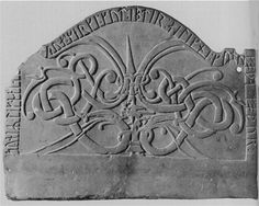 Carved stone monument depicting Dragons 11th Century CE. Arde, Gotland