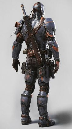 DeathStroke Arkham Origins by JPGraphic Deadpool Deathstroke, Deathstroke Cosplay, Deathstroke The Terminator, Deadshot, Game Character Design, Comic Character, Marvel Dc, Armadura Cosplay, Arte Ninja