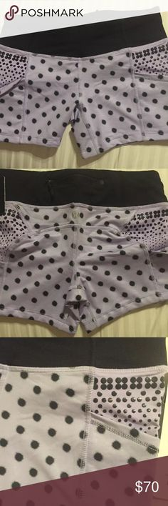 Lululemon Shorty Short Polka Dot Lavender HTF NWT!!!! SHORTY SHORT LILAC SIZE 4  I'm selling a lot of my size 4 Lulu stuff because I can't fit into them :/ so please check my closet. I love these shorts because they have the silicone grips and don't ride up. I have about 15 pairs but in my size :)  I have a matching tank. lululemon athletica Shorts