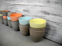 Stone & Color espresso cups without ears.  Handthrown pottery modern style.