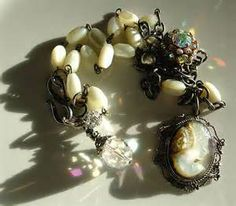 Vintage Cameo, Mother of Pearl Necklace