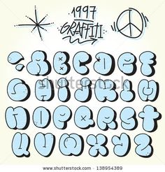 Graffiti bubble alphabet vector set by dmitriylo, via Shutterstock