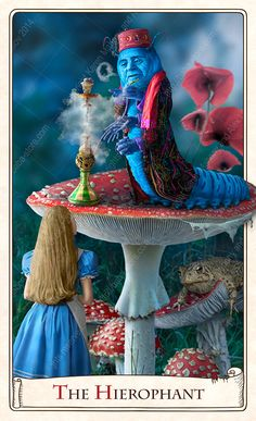 Baba Studio Design - 'Hierophant' card from The Alice Tarot — Standard deck.