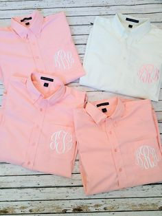 Monogrammed Oversized Men's Shirts for Bridal Parties and College Co-ed's. $30.00, via Etsy.