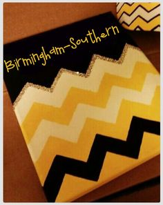 Rock those BSC colors! Go Panthers! Just buy a canvas & black and gold paint at Hobby Lobby! #BSC #Dorm #Decor #DIY