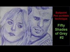Ballpointe Pen scribble technique - Fifty Shades of Grey by Tialer Tran - YouTube