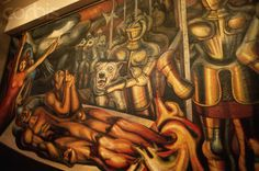 """David Alfaro Siqueiros' 1950-1951 mural """"Tormento de Cuauhtemoc"""", incl. details. This work is found in Mexico City's Palace"""