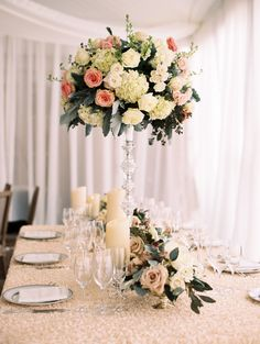 Like the candles and the crystal.  Floral Design: Amaryllis - http://www.stylemepretty.com/portfolio/amaryllis-event-design Planner: A. Dominick Events - http://www.stylemepretty.com/portfolio/a-dominick-events Reception: Decatur House - http://www.stylemepretty.com/portfolio/decatur-house Read More on SMP: http://www.stylemepretty.com/2015/08/10/classic-romantic-washington-d-c-spring-wedding/