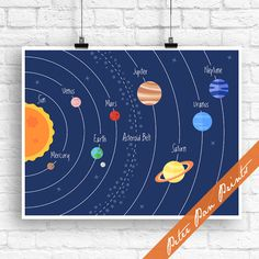 Our Solar System Map (planets) - Inspired Art Print (Unframed) (Featured in Navy) Outer space Art Prints for Kids Solar System Map, Animal Costumes, Galaxy Print, Illustration Artists, Illustrations, Accent Colors, Outer Space, Colorful Backgrounds, Planets