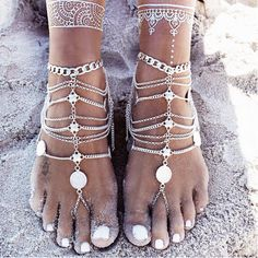Item Type: Anklets Fine or Fashion: Fashion Gender: Women Style: Bohemia Material: None Length: 22cm,add 7.5cm adjustable Metals Type: Silver Plated Shape\pattern: Round Model Number: B-0638-4 Color: