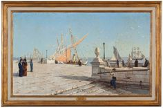 """""""Cais das Colunas"""" João Vaz (1859-1931) Lisboa, c.1914 Óleo sobre tela Casa-Museu Medeiros e Almeida"""