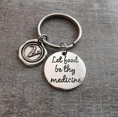 Let food be thy medicine, Eat Healthy, Silver Bracelet, RD, Graduation, Registered dietitian, nutritionists ,RDN, Bangle Bracelet, Grad by SAjolie, $16.95 USD