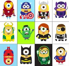 What could be cuter than Halloween Minions? To celebrate our first Halloween, we've introduced a new line of Minions dressed in some of the most popular super hero costumes! These Minions were in. Amor Minions, Minions Minions, Minion Jokes, Minions 2014, Minion Nails, Funny Minion, Marvel E Dc, Hulk Marvel, Despicable Me