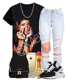 A fashion look from September 2015 by marriiiiiiiii featuring MICHAEL Michael Kors, Nixon, Fremada, Carmex and NIKE Lit Outfits, Dope Outfits, School Outfits, Casual Outfits, College Fashion, Teen Fashion, Love Fashion, Fashion Women, Black Girl Swag