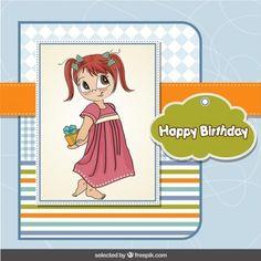 Tarjeta de cumpleaños de la muchacha adorable en el estilo de álbum de recorte