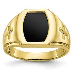 ApplesofGold.com - Men's Diamond Cross Accent Onyx Ring in 10K Gold Jewelry $499.00 Gold Diamond Rings, Diamond Stone, White Gold Diamonds, Mens Band Rings, Rings For Men, Gold Fangs, Silver Grillz, Gents Ring, Mens Crosses