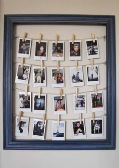 Make a wooden frame and tie strings inside it. Now clip your favorite photos on the strings to make a lovely frame.