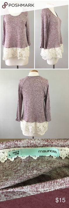 Maurice's Purple Crochet Hem Long Sleeve Blouse Maurice's Purple Crochet Hem Long Sleeve Blouse. Size large. Thank you for looking at my listing. Please feel free to comment with any questions (no trades/modeling).  •Condition: Excellent, no visible flaws.   ✨Bundle and save!✨10% off 2 items, 20% off 3 items & 30% off 5+ items! KB Maurices Tops Blouses