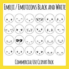 Emoticons / Smiley faces Frowny faces Clipart Set - 24 pieces of black and white / line art / black line master clip art in a pack or bundle for your worksheets or educational resources. All images or pictures are high resolution so you can have large illustrations of them and they'll still be clean and beautiful.Images are in PNG format with a transparent background (there aren't white areas around the outside edge) so they can be dropped into your documents easily, and layered with text…