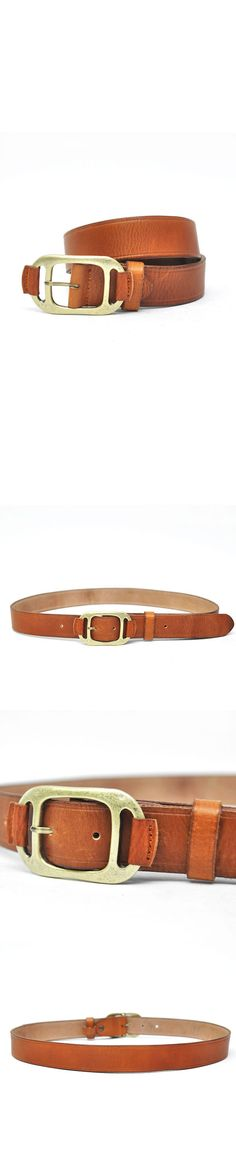 Accessories :: Belts :: Unique Brass Buckle Classic Cowhide-Belt 101 - Mens Fashion Clothing For An Attractive Guy Look