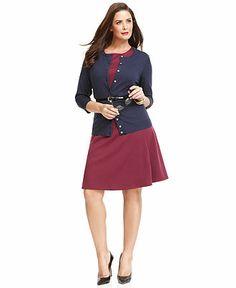 Work Your Wardrobe Plus Size Cardigan & A-Line Dress Look - Plus Sizes - Macy's