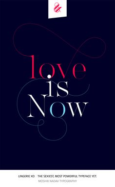 Love is now. Made with the new Lingerie Xo - The Sexiest, Most Powerful Typeface Yet. By Moshik Nadav Typography. Available on: www.moshik.net #lingeriexo #xo #typography #type #newfont #newtypeface #fonts #font #typeface #fashion #fashiontypography #fashionmagazine #logo #logotype #moshik #moshiknadav #ligatures #ligature #typografie #swashes #graphicdesign #branding #packaging