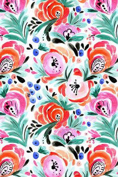 Tropical Floral by crystal_walen - Hand painted flowers in red, pink, orange, and green on fabric, wallpaper, and gift wrap. Beautiful hand painted flowers in vibrant vintage colors. #floral #flowers #handpainted #watercolor #makeit #crafty #surfacedesign