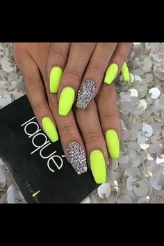 Neon nails with glitter accent bright nails neon, summer nails neon, neon nail colors Neon Yellow Nails, Neon Nails, Cute Acrylic Nails, Cute Nails, My Nails, Bright Nails Neon, Lime Green Nails, Bling Nails, Neon Nail Art
