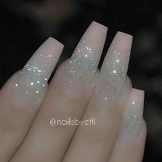 Pink silver glitter acrylic nails winter nails - http://amzn.to/2iZnRSz