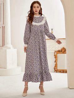 Smock Dress, Dress P, Ditsy Floral, Ruffle Trim, Smocking, Fashion Ideas, Modeling, Contrast, Summer Dresses