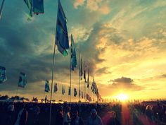 Glastonbury 2014 Flags Other Stage Sunset