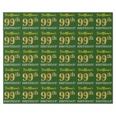 """Green Imitation Gold Look """"99th BIRTHDAY"""" Wrapping Paper - party gifts gift ideas diy customize"""
