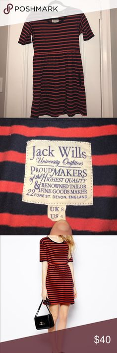 """Jack Wills striped short-sleeve fit & flare dress Jack Wills striped short-sleeve fit & flare dress. red&navy. Two front pockets. Approximately 30.5"""" length ASOS Dresses Mini"""
