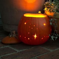 starry night pumpkin luminary By simply using your drill you can create your very own galaxy. Different sized drill bits will create the illusion of far away stars, while carving out a few comets completes the look.