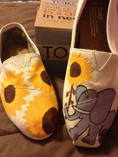 Cute! // #TOMSshoes #elephant #sunflower #shoes #OneforOne #DIY #handpainted