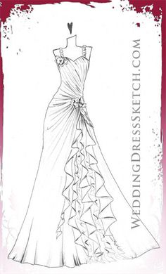 Custom Wedding Dress Sketch by WeddingDressSketch. Who wouldn't love a personalized wedding gown sketch? Fashion at its best. 2013 weddingdresssketch.com