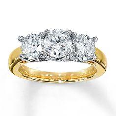 3-Stone Diamond Ring 2 ct tw Round-cut 14K Yellow Gold